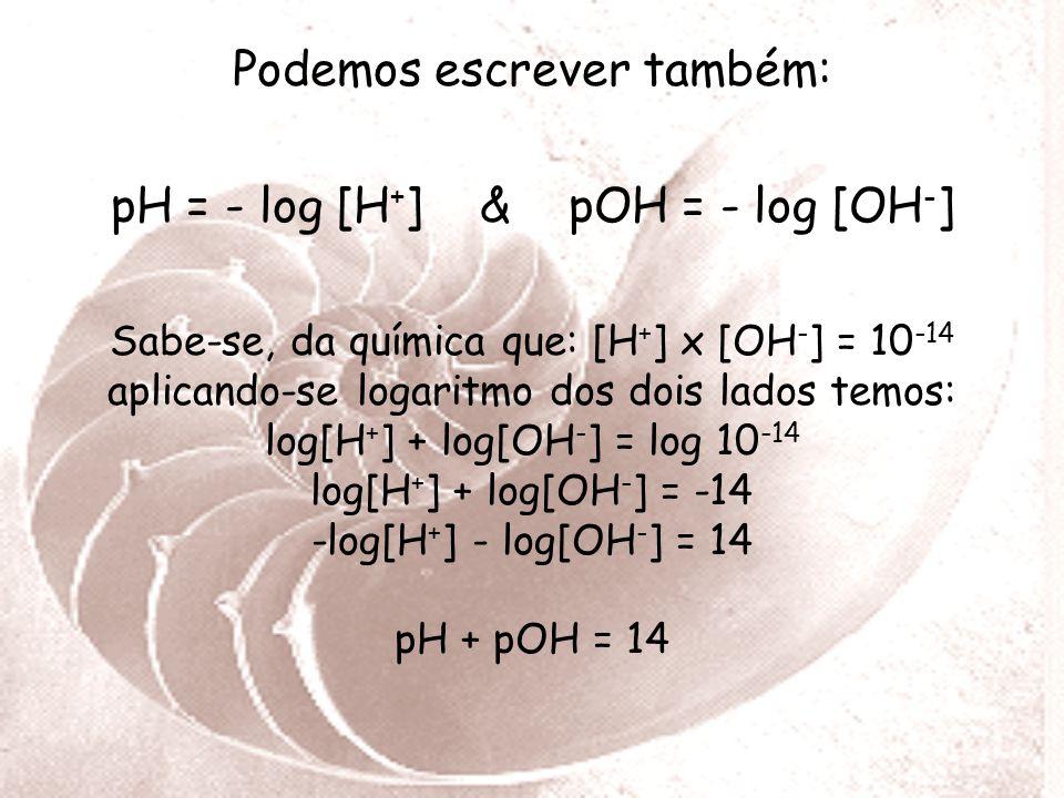 Podemos escrever também: pH = - log [H+] & pOH = - log [OH-]